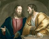 Jesus recruiting Matthew as a disciple