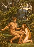 Adam and Eve, with Eve showing her obedience