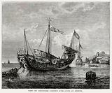 View off Singapore-Chinese junk lying at anchor