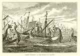 Greek Triremes at the battle of Salamis
