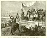 """Louis and Charles taking the """"Strasburg Oath"""" before their armies"""