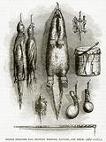 Indian Medicine bag, Mystery Whistle, Rattles, and Drum