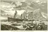 "The ""Victory"" towed into Gibraltar after the Battle of Trafalgar"