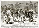"""Officers of H.M.S. """"Challenger"""" Bartering with the Natives of the Admiralty Islands"""