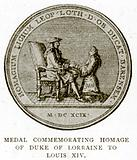 Medal Commemorating Homage of Duke of Lorraine to Louis XIV