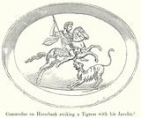 Commodus on Horseback striking a Tigress with his Javelin