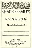 Title-page of Shakespeare's Sonnets, 1609