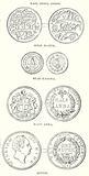 East India Coins. Gold Mohur. Star Pagoda. Half Anna. Rupee