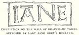 Inscription on the Wall of Beauchamp Tower. Supposed by Lady Jane Grey's Husband