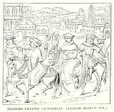 Pilgrims Leaving Canterbury. (British Musem Mss)