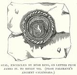Seal, Encircled by Rush Ring, on Letter from James IV to Henry VII