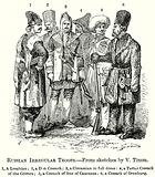 Russian Irregular Troops. 1, A Lesghian; 2, A Don Cossack; 3, A Circassian in Full Dress; 4 …