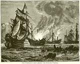 The Fire-Ship sent among the Spanish Vessels