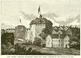 """The """"Globe"""" Theatre, Southwark (With the """"Rose"""" Theatre in the Distance), in 1613"""