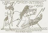 Death of Harold, who is attempting to pull the Arrow from his Eye