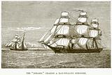 "The ""Rosario"" Chasing a Man-Stealing Schooner"