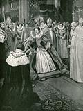 The presentation of the gloves by the Lord of the Manor of Worksop at the coronation of Elizabeth
