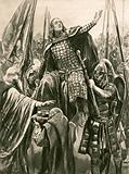 The elevation of Edward the Elder at his coronation at Kingston-on-Thames, Whitsunday, 901