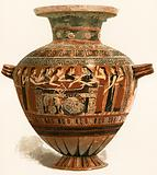 Corinthian Vase. Museum of the Louvre. Mourning over the dead Achilleus.