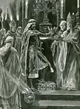 Richard I delivering the crown to the Archbishop before the act of crowning