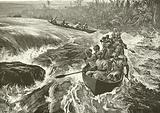 Stanley shooting the rapids of the Congo