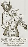 Jongleur Playing a Vielle. Fifteenth Century.