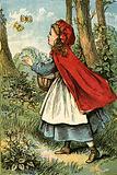Little Red Riding Hood catching butterflies