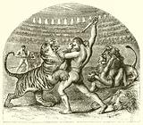 The fighting lion of ancient Rome