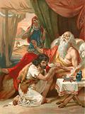 Jacob deceives his father Isaac