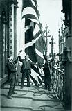 Hoisting the Union Jack on the Victoria Tower