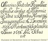 Facsimile of Inscription found in Cromwell's Coffin