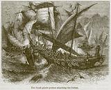 The Dyak Pirate Prahus Attacking the Sultan