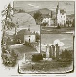 1. Abergeldie Castle. 2. Crathie Parish Church. 3. Braemar Castle.