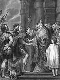St Ambrose, refusing the Emperor Theodosius admittance into the church