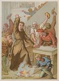 Martin Luther burning the Papal bull banning his works
