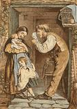 The cottage door, father playing with his child
