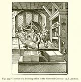 Interior of a Printing-office in the Sixteenth Century