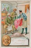 Michel Eugene Chevreul, French chemist (1786-1889), inspecting some new dyes