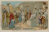 Numa Pompilius, second king of Rome (753-673 BC), passing the first Roman laws