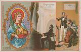 St Cecilia, organist and musicians