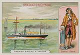 The first steam-powered boat and Denis Papin, French 17th-18th pioneer of steam power