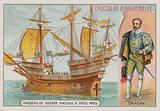 Sir Francis Drake and a three-masted English warship
