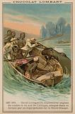 David Livingstone's boat being attacked by a hippopotamus on the Orange River, Africa, 1867-1873
