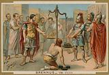 The Romans trying to buy their salvation from the Gaulish chief Brennus, 4th Century BC