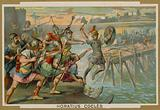 Horatius Cocles, Roman soldier, defending the Pons Sublicius against the invading army of the king …