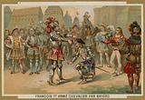 King Charles I of France knighted by Chevalier de Bayard after the Battle of Marignano, 1515