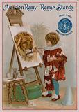 Child painting the head of a lion