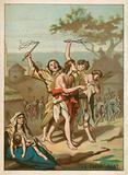 Men, women and children being whipped by monks