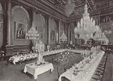 "Goldsmiths' Hall prepared for a ""Pyx Dinner"""