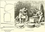 Tools and Pieces of Slate, showing Method of Splitting and Trimming, Slate-Dressers at Work
